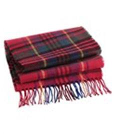 Embroidered Check Scarf
