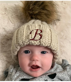 Chunky Beanie hat with fur pom pom - Infant size -Personalised with name or initials