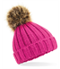 Chunky Beanie hat with fur pom pom - Junior size -Personalised with name or initials